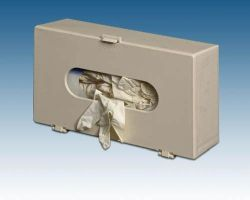 Glove Box Holder Holds one box , snap closure * Accommodates varied size boxes * Has mounting holes built in * Beige plastic * 11 3/4