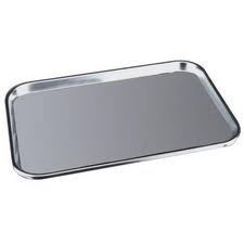 Eating Aids * Stainless Steel finish provides an easily washable surface * Beveled edges prevent food or drink from sliding off tray