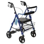 Combination Red Rollator & Transport Wheelchair